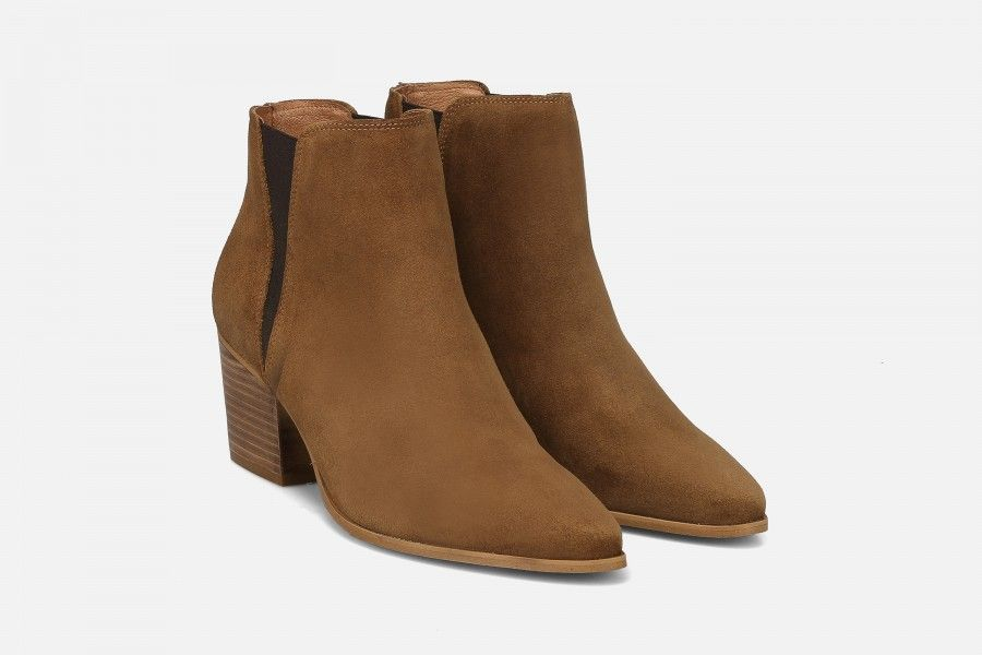 HADARIN Mid Heel Boots - Cognac