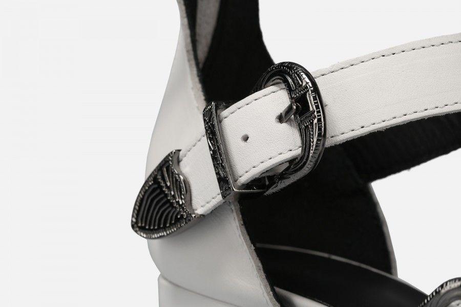 RIO Mid Heel Sandals - White