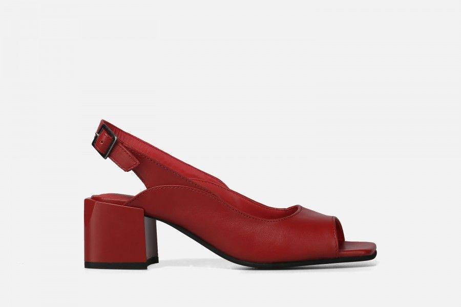 BALI Mid Heel Sandals - Vermelho