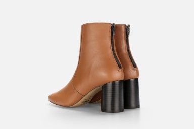 LUNA ANKLE BOOT Mid Heel Sandals - Cognac