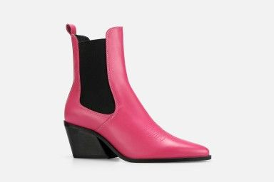 ROUNDROULETTE Mid Heel Boots - Rosa